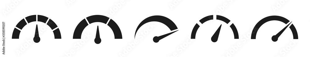 Fototapeta Speedometers set icons. Vector illustration