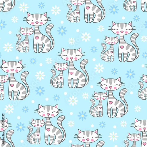 seamless pattern with cute cartoon cats and daisies, on a blue background. Children's desain. Vector