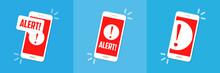 Alert Notification On The Smartphone Screen. Flat Vector