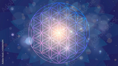 Canvas Print Background with the sign of the Flower of Life, astral space pattern
