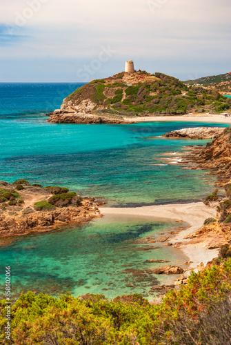 Fototapeta Sardegna, veduta della costa e torre di Chia, Domus de Maria, Italia obraz