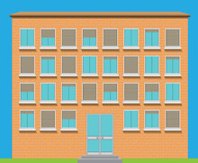 Facade Of A Brick Building Wit...