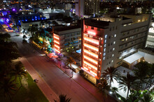 Aerial Night Drone Photo Hotel Victor Miami Beach FL