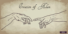 The Creation Of Adam. Vector Hand Drawn Sepia Illustration From A Section Of Michelangelo's Fresco Sistine Chapel Ceiling Isolated On Background.