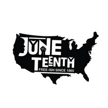 US Map With Word Juneteenth Si...