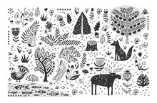Hand Drawn Pattern With Abstra...
