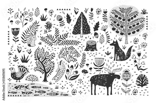 Fotografía Hand drawn pattern with abstract Scandinavian nature elements