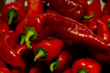 Fresh Red Chili Peppers With Green Stems
