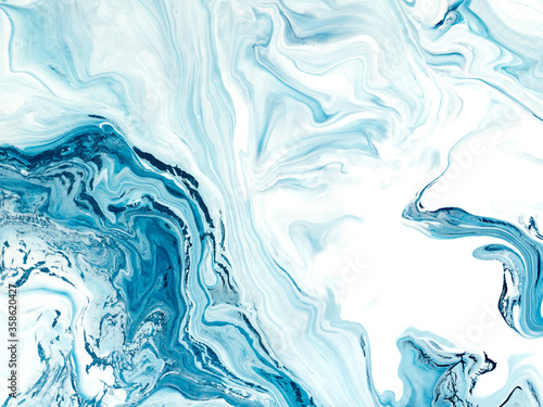Blue wave, creative abstract hand painted background, marble texture Fotobehang