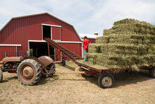 Baling Hay On The Farm On The ...