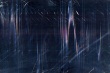 Grunge Abstract Background. Distressed Texture. Dark Blue Glitched Film With Dust Digital Noise.