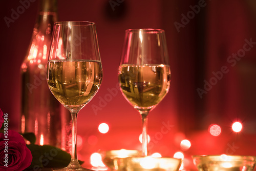 Romantic candle light dinner setting for two