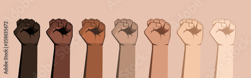 Set of seven raised fists of different shades. Fototapet