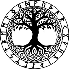 Yggdrasil Mit Futhark Runenkreis