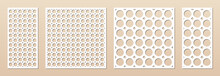 Decorative Panel For Laser Cutting. Cnc Pattern Set. Cutout Silhouette With Abstract Geometric Texture, Circles, Rings, Circular Grid. Laser Cut Stencil For Wood, Metal, Paper. Aspect Ratio 1:1, 1:2