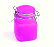 canvas print picture - Empty glass spice jar. Purple jar for spice isolated on a white background. Cooking utensil. Kitchen ware. Kitchen utensils.