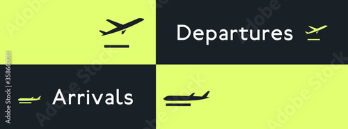 Departures and arrivals icon set, airport navigation pictograms Canvas Print