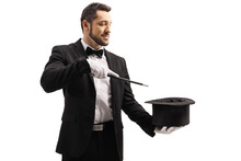 Magician Performing A Trick With A Magic Wand And A Top Hat