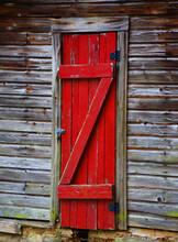 Barn Door In Bright Red