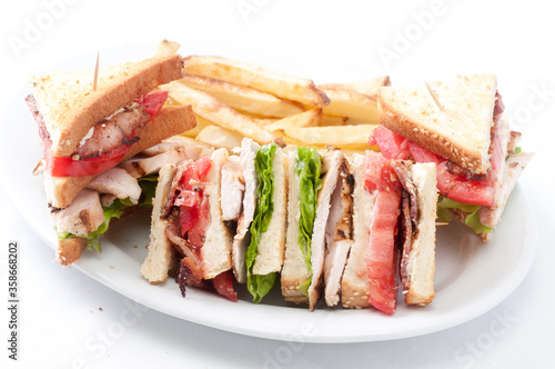 Tablou Canvas clubhouse sandwich with crispy fries