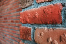 Side Angle Of A Red Brick Wall...