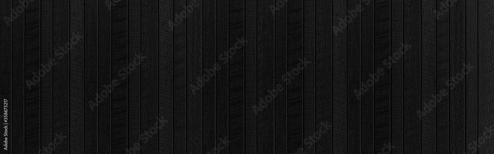 Fototapeta Panorama of Black wood texture background. Abstract dark wood texture on black wall. Aged wood plank texture pattern in dark tone
