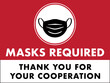 Masks Required Sign | Horizontal Window Signage for Restaurants and Retail Business | Face Mask Symbol