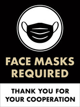 Face Masks Required Sign | Window Sign For Retail Business & Restaurants | Vertical Poster Template