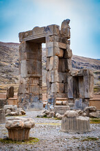 It's The Hundred Columns Hall In The Ancient City Of Persepolis, Iran. UNESCO World Heritage Site