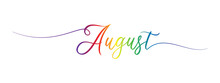 August Letter Calligraphy Banner Colorful Gradient