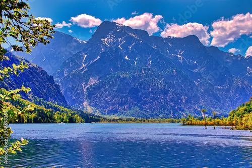 lake and mountains, Almsee Grünau Austria Canvas Print