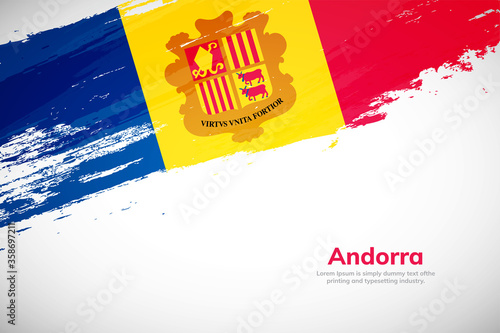 Photo Brush painted grunge flag of Andorra country