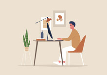 Young Male Character Working At The Office, Posters And Plants, Cozy Workplace Interior, Millennials At Work