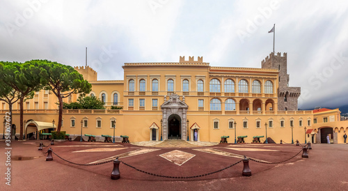 Panoramic view of the Prince's Palace on Palace Square with guard duty posts, Monaco Ville, Monaco