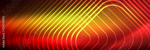 Shiny neon lines, stripes and waves, technology abstract background Canvas Print
