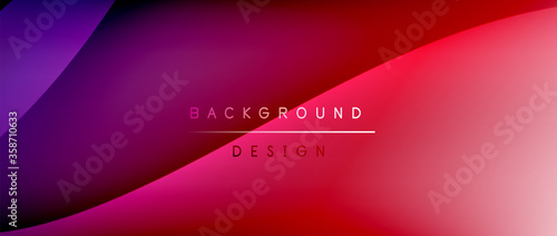Obraz Fluid gradient waves with shadow lines and glowing light effect, modern flowing motion abstract background for cover, placards, poster, banner or flyer - fototapety do salonu