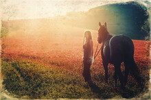 Young Beautiful Dreadded Girl Outdoors With Her Horse. Old Photo Effect.