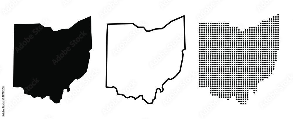 Fototapeta Ohio US state blank map vector solid black color and outline isolated on white background