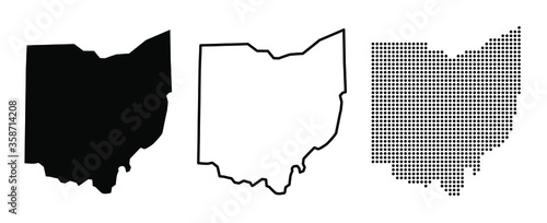 Fotografia Ohio US state blank map vector solid black color and outline isolated on white b