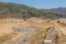 Man Made Ditch At Rural Constr...