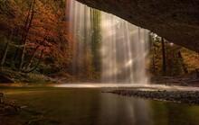 Waterfall In Autumn Park