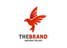 Flying Red Bird Vector Logo Te...