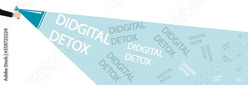Photo A male hand holds a megaphone showing digital detox