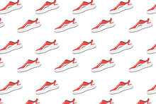 Red-white Colored Golf Shoe Pattern On White Background Vector Illustration. Golf Shoes Pattern. Golf Equipment, Branding Package, Fabric Print, Wallpaper.