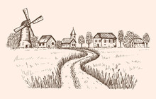 Sketch Of A Rural Landscape. T...