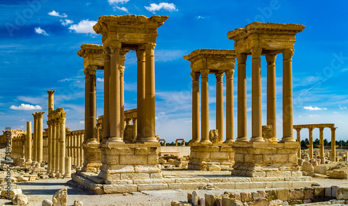 It's Beautiful view of the ruins in the desert of Syria, Palmyra Canvas