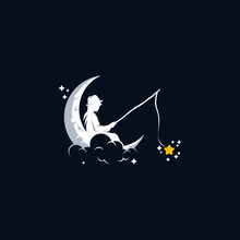 Kid Fishing In The Moon Logo D...