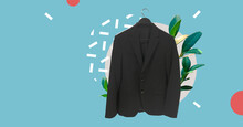 Men's Black Classic Suit On Ha...