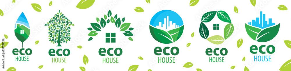 Fototapeta Vector set of icons for ecological houses