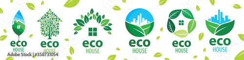 Obraz Vector set of icons for ecological houses - fototapety do salonu